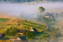 of the Carpathian village in the morning / ***