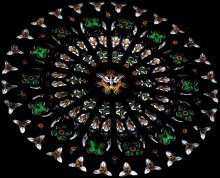 The symbol of Baptism ... Stained-glass window. / ***