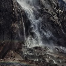 waterfall and a man / ***