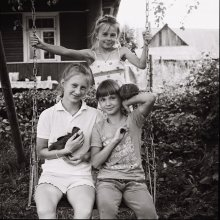 Three Sisters and their hens. /