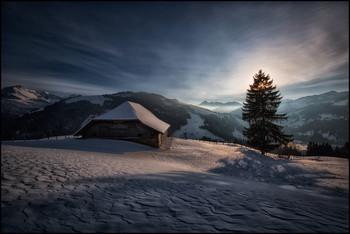 Alp Winter / Alphütte im Gegenlicht