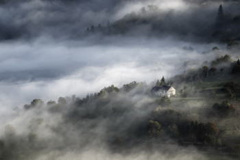 Another morning / A foggy morning in the hills of the Cantal (Auvergne / France)